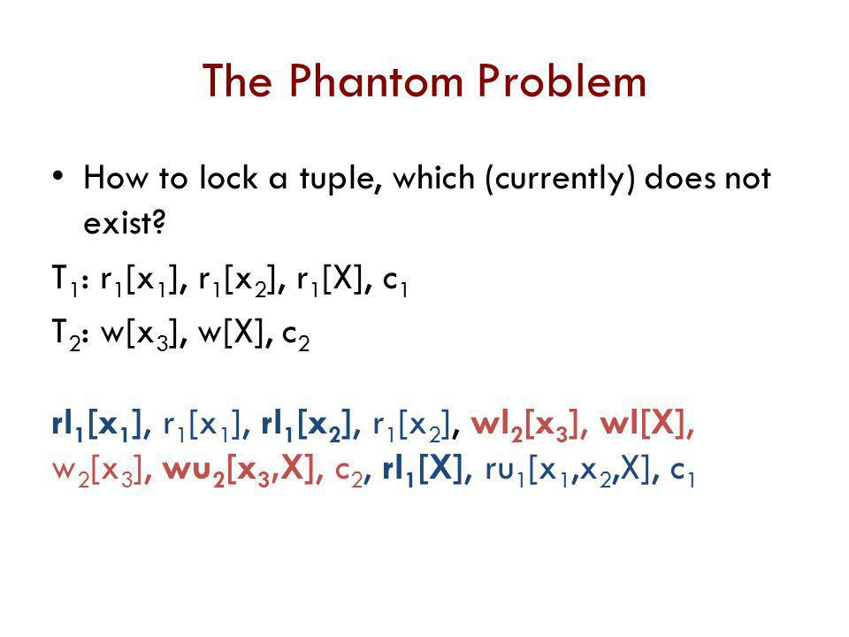 The Phantom Problem How to lock a tuple, which (currently) does not exist T1: r1[x1], r1[x2], r1[X], c1.